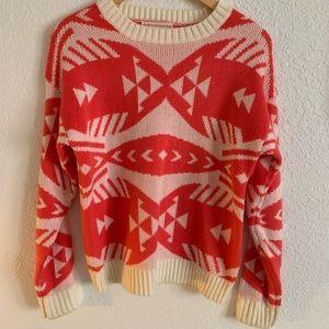 Fashionomics Aztec print sweater coral